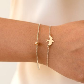 Fashion wild metal peace dove simple bracelet gold plated chain jewelry