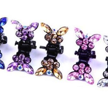 10pcs New Butterfly rhinestone mini crab claw clip Bows Hair Clip Bows Baby Girls Bobby Pin Children plum blossom HairPin