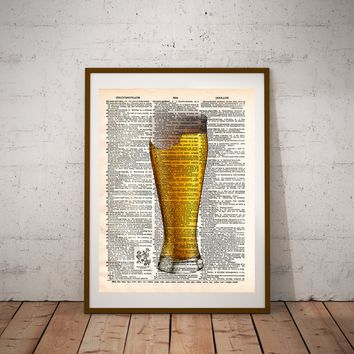 Beer pint pilsner art, frosty beer, man cave art, gift for beer lover, the perfect pint, dictionary art