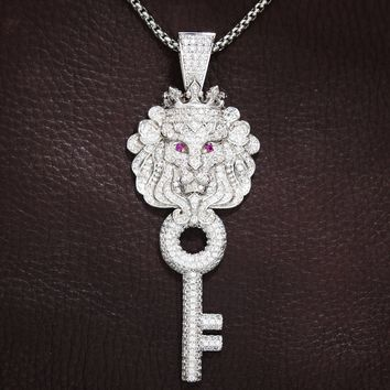 Men's Lion Face Head Iced Out Key Pendant Chain
