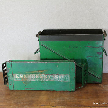 1950s Emergency Kit Ammo Box, Large Green Metal Storage