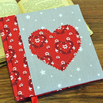 Valentines day gift Handmade notebook with heart Personal diary for girls Red journal Patchwork fabric covered blank book Romantic gift