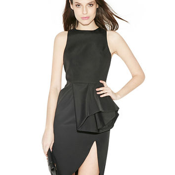Front Slit Sleeveless Black Dress with Ruffle Detail