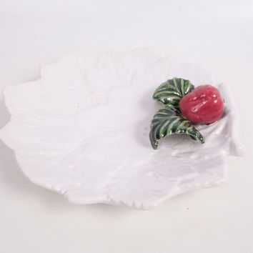 Vintage Strawberry Dish Applied Strawberry Leaf Shape Bowl Candy Dish Fruit Platter