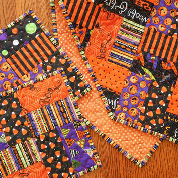 Halloween Quilted Table Runner and Mug Rug Set