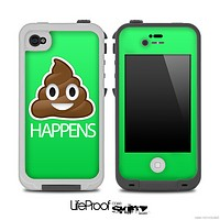 Lime Green Crap Happens Skin for the iPhone 5 or 4/4s LifeProof Case