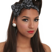 LOVEsick Sugar Skull Bow Stretch Headband