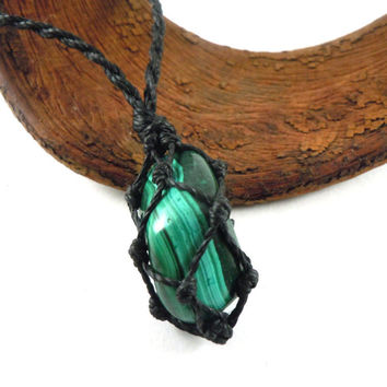 Mens necklace, malachite pendant, boldness necklace, Boyfriend gift, malachite jewelry, Taurus choker, Scorpio gift idea, wrapmeacrystal