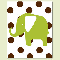 Polka Dot Elephant - Wall Art for Nursery - 8x10 Print - Choose Your Colors - Shown in Chocolate Brown, Olive Green, and More