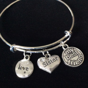 Sister My Best Friend Expandable Charm Bracelet Adjustable Bangle Trendy Gift Charm Bracelet