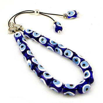 Evil Eye Greek Komboloi, Worry Beads, Blue Plastic Barrel Beads & Silvertone Metal Master Bead