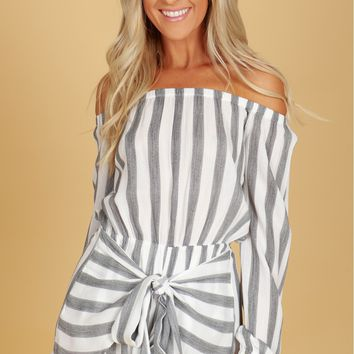 Off Shoulder Striped Romper Black