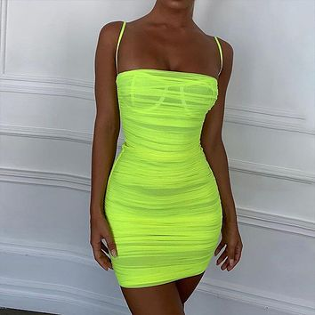 Folded mesh gauze skirt female summer 2019 new dress
