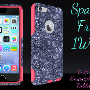 "OtterBox Commuter Series Case for 4.7"" iPhone 6 - Custom Glitter Case for 4.7"" iPhone 6 - Smoke/Pink"