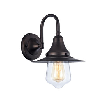 "Ironclad, Industrial-Style 1 Light Rubbed Bronze Wall Sconce 9"" Wide"