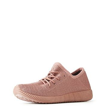 Qupid Knit Lace-Up Sneakers | Charlotte Russe
