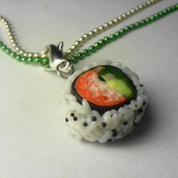 California Roll Sushi Necklace Miniature by Sweetnsavorytrinkets