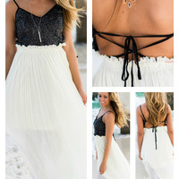 Steal The Show Strappy Open Back Beach Maxi Dress
