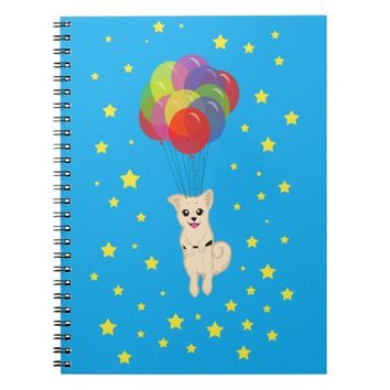 Puppy with Balloons Spiral Notebook