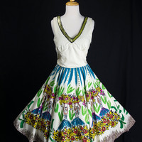 Vintage Mexican Circle Sun Dress Painted Senorita Novelty Print with Sequin 1950's Style