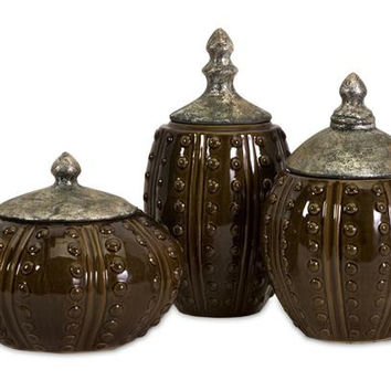 3 Decorative Canisters - Glossy Textured Finish