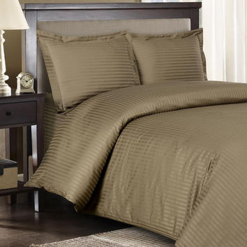 Stripe Taupe Down Alternative Bed in A Bag 100% Egyptian cotton 600 Thread count