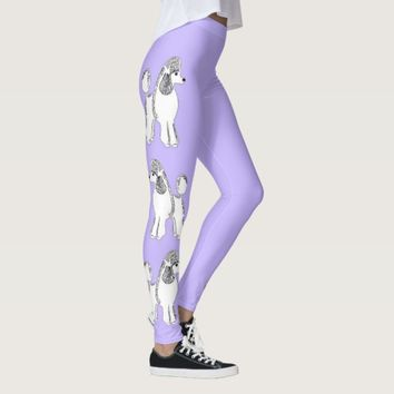 White Poodles Lilac Women's Leggings