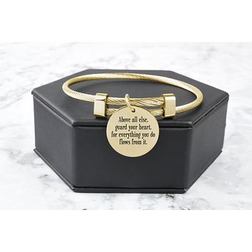 Gold Plated Stainless Steel Inspirational Cable Bangles By Pink Box
