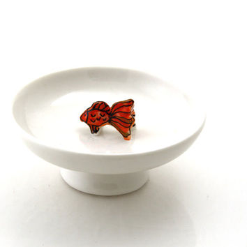 koi fish ring holder, jewelry dish, trinket holder, koi pond lover, jewelry storage and organization, gift for her, under 20