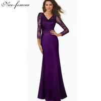 Nice-forever Vintage Grace Sexy Deep Back Lace V-Neck Grand Women Sleeve Celebrity Bodycon Maxi Long Gauze Mermaid Dress A019