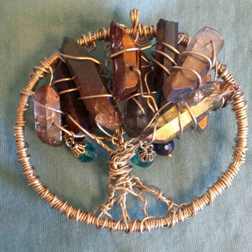 Tree of Life / Wire Wrapped Sun Catcher or Christmas Ornament / Quartz Crystals