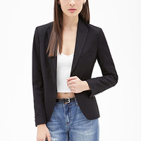 FOREVER 21 Pinstriped Blazer Black