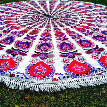 Boho Round Beach Throw - Round Mandala - Outdoor Decor  - Beach Life - Boho Beach - Hippie - Picnic Throw - Rug - Tablecloth - 3066