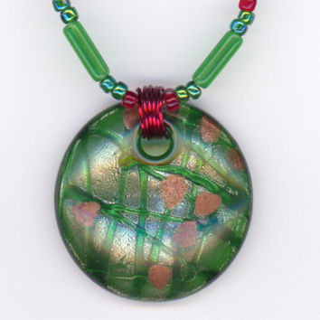Large Green Pendant with Green and Red Bead Necklace by Lehane
