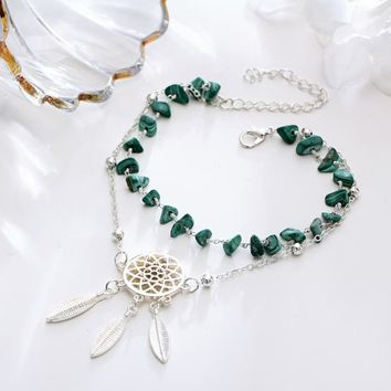 Hollow Dream Catcher Irregular Turquoise Bracelet Anklet