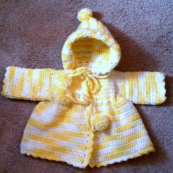 Yellow Hooded Crocheted Sweater - 6-9mos