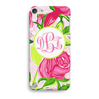 Delta Zeta Rose Flower Personalized Monogram Inspired Lilly Pulitzer  iPod Touch 5 Case, iTouch 4 Case