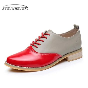 2017 Genuine leather woman big size US 9.5 point toe vintage flats oxford shoes handmade yellow red gray oxford shoes for women