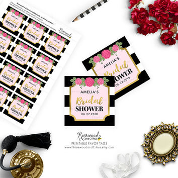Printable Bridal Shower Favor Tags, Pink Floral Bridal Shower, Stripes Bridal Shower Tags, Printable Shower Favor Tags, Printable Favor Tags
