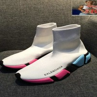 men shoes casual sneakers Balenciaga Speed Knit Official Trainers Face White Contrasting Textured Multi Color Sole shoe