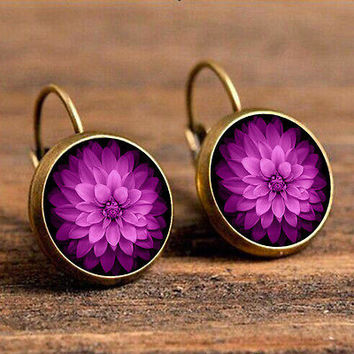 Euro-American Bohemia Rose Red Flower Retro Glass Gem Stud Earrings Jewelry HU