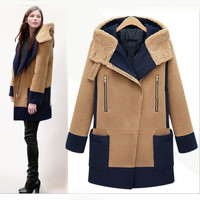 Lambs wool hooded thick coat  FD1213D