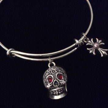 Sugar Skull Ruby Red Eyes Gothic Silver Expandable Charm Bracelet Halloween Costume Hostess Gift Adjustable Wire Trendy Stackable Bangle Goth