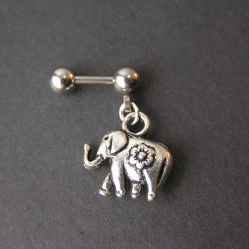 "Lucky Elephant Tragus Piercing, 16g 1/4"" Cartilage Earring, Tragus Barbell, Helix Barbell, Cartilage Piercing, Small Dangle Helix Earring"