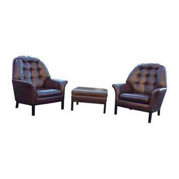 Pre-owned 1960'S Modern Leather Lounge Chairs & Ottoman