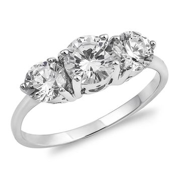 Sterling Silver 3 Stone Cubic Zirconia Engagement Ring