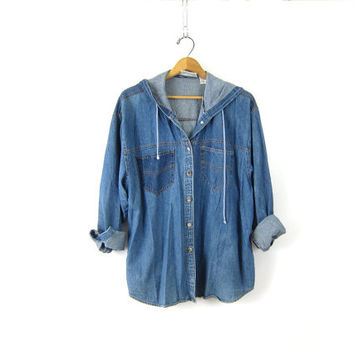 Baggy Denim Shirt Jacket 90s Slouchy Vintage Hoodie Blue Jean Oversize Hipster Grunge Button Up Hooded Top Women's Size Medium