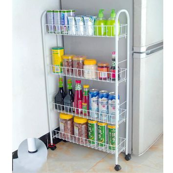 Yontree 1 Pc White 3 4 Tiers Slim Line Metal Storage Cart Foldin