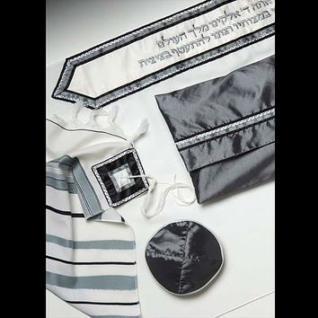 lassic Tallit With Gray & Black Strips