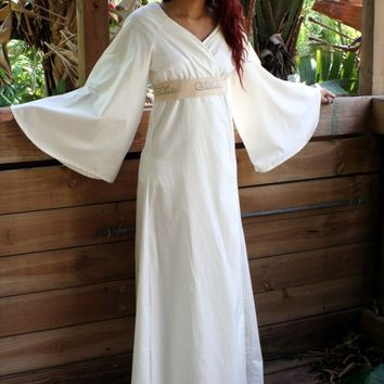 100% Cotton Robe Bell Sleeve Believe Stamped Belt Natural or White Egyptian Cotton Lounge Sleepwear Lingerie